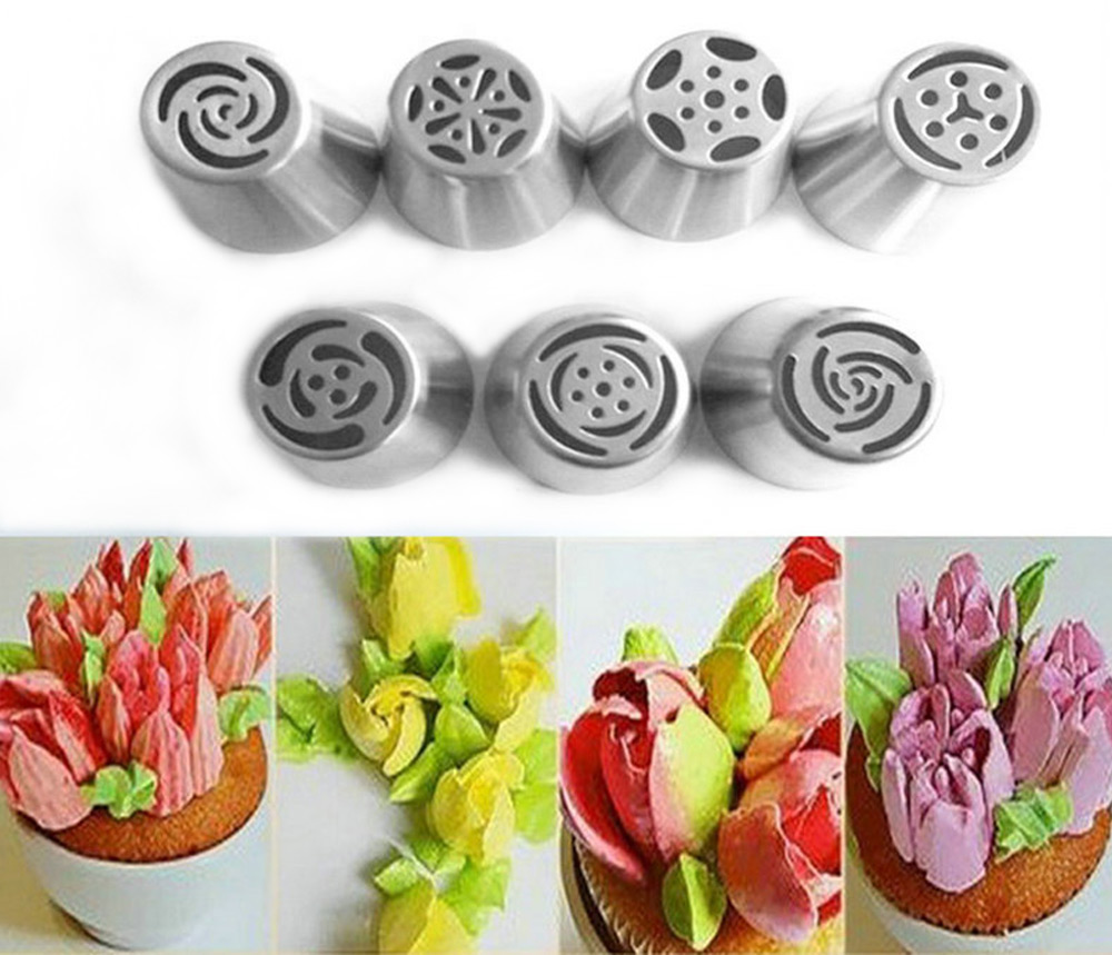 7pcs Russian Icing Piping Nozzles Cake Decoration Tips Kitchen Tool