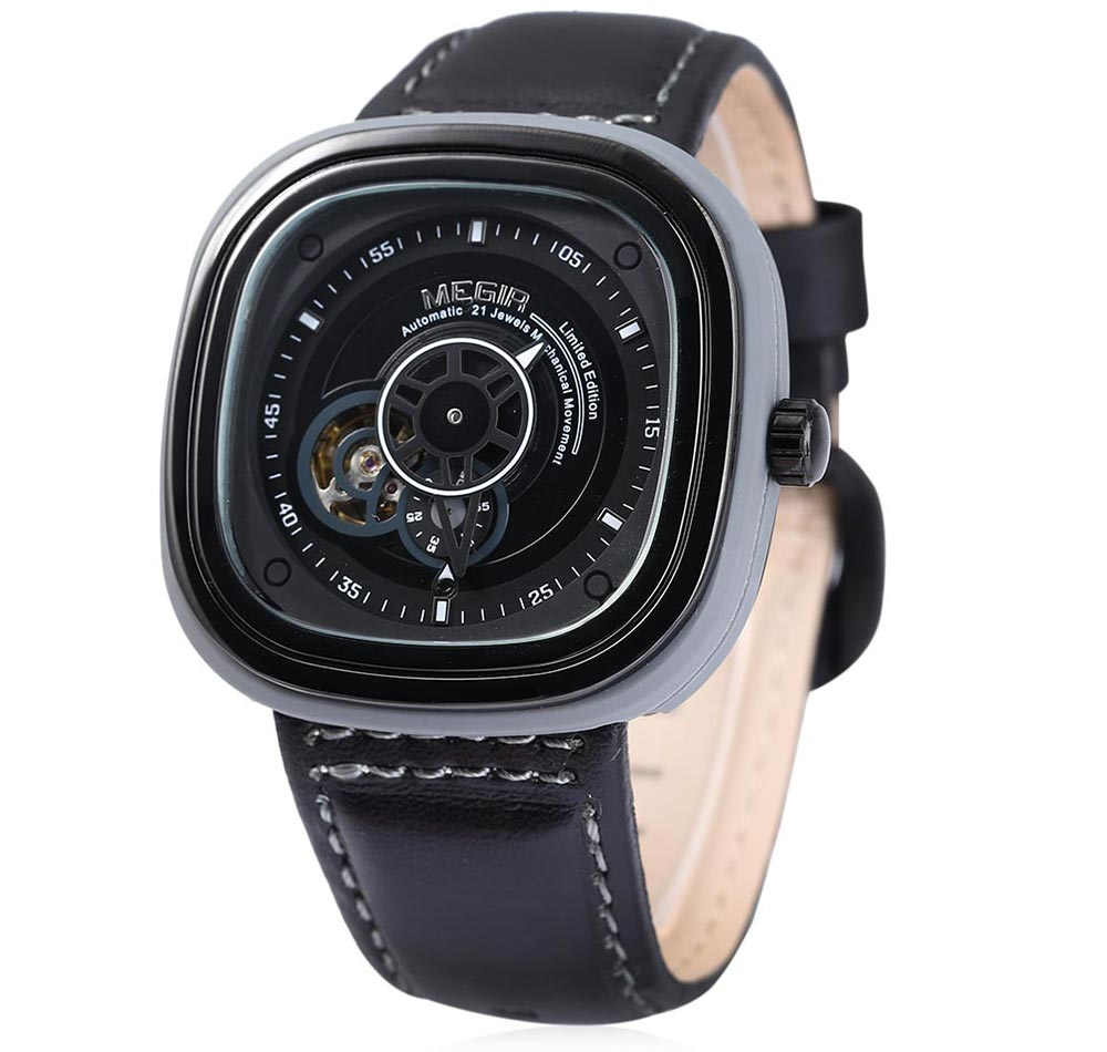 MEGIR M3012 Men Automatic Mechanical Watch Square Dial with Working Sub-dial Leather Band Sport Wristwatch