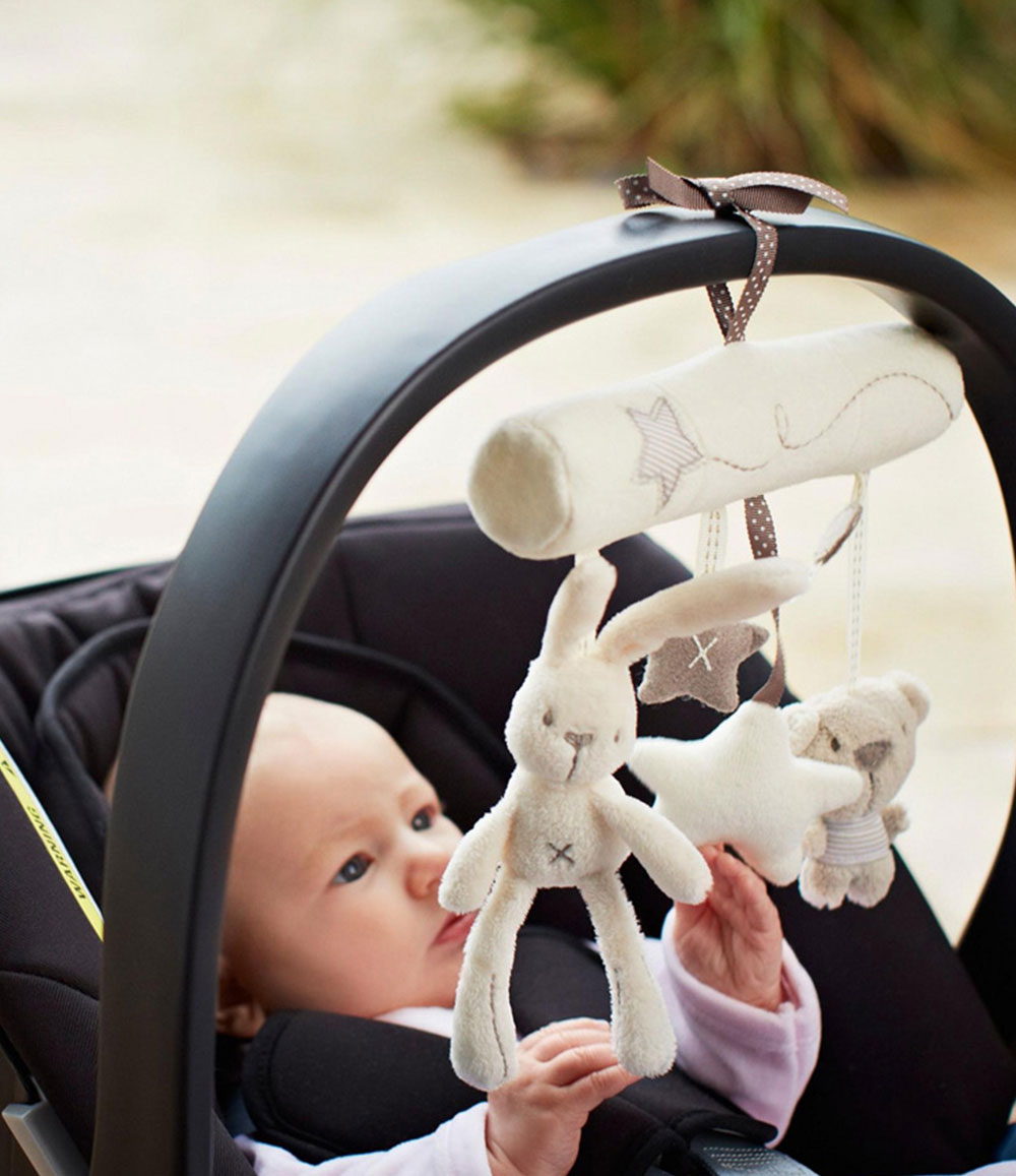 Multifunctional Cute Rabbit Plush Toy Stroller Hanging Musical Pendant for Babies
