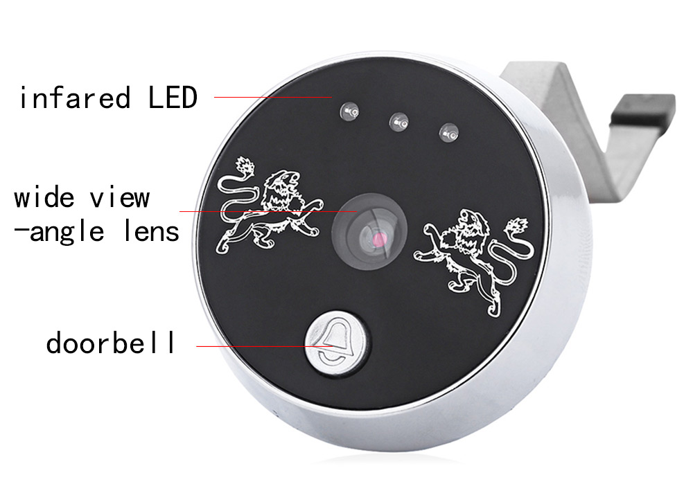 3.5 inch Doorbell Peephole Digital Viewer with Camera DVR Night Vision Wide Lens 3-Time-Zoom