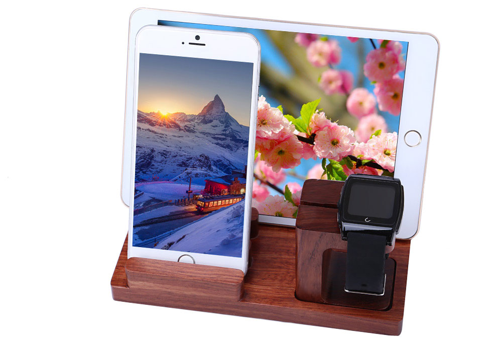 Detachable Wooden Charging Station for Apple Watch Smart Phone