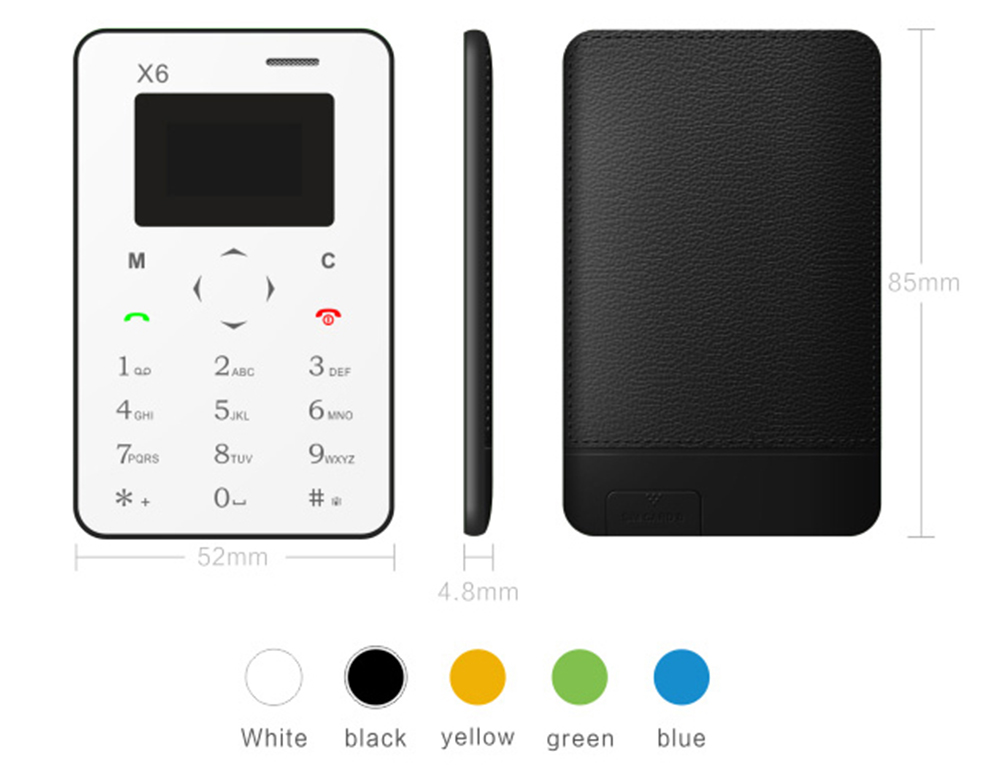 AIEK X6 1.0 inch Ultra-thin Card Phone Bluetooth 3.0 FM Audio Player