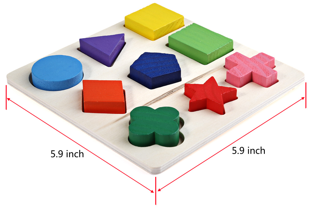 Wooden 3D Geometry Stacking Block Puzzle Educational Toy for Kids