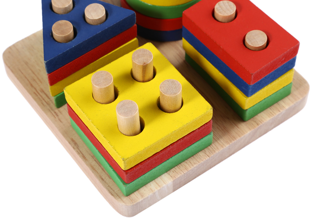 Wooden Geometric Sorting Board Building Blocks Toy for Kids