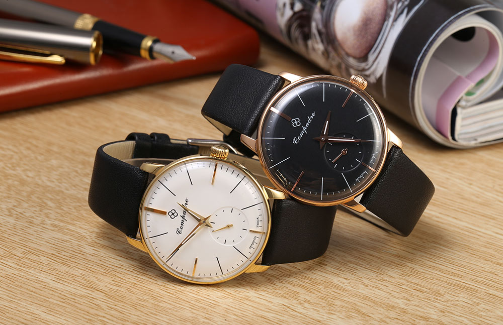 Compadre 8012G Male Seagull 1700A Mechanical Movt Watch Ultrathin Beer Cap Dial Water Resistance Luminous Pointer Wristwatch