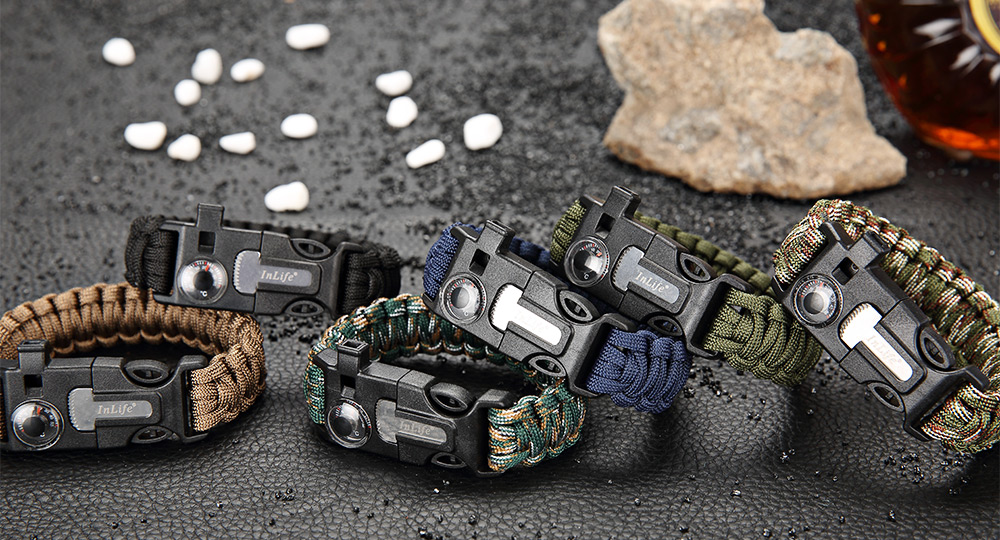 Inlife Multifunctional Whistle Flint Thermometer Knitted Survival Bracelet