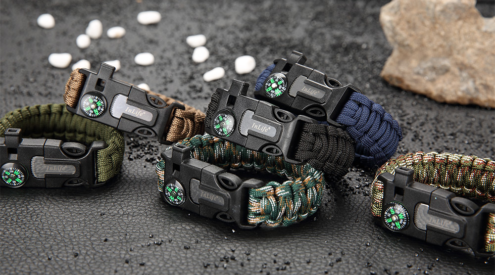 Inlife Multifunctional Whistle Flint Compass Knitted Survival Bracelet