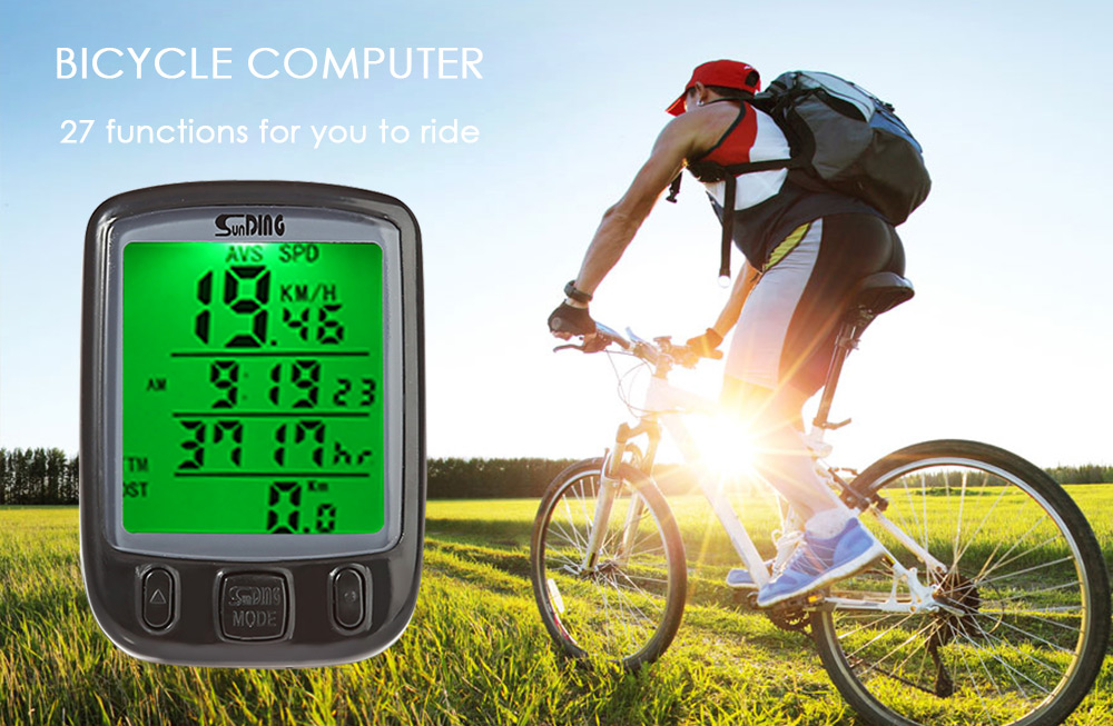 SunDing SD - 563B Leisure Bicycle Computer Water Resistant Cycling Odometer Speedometer with Green Backlight