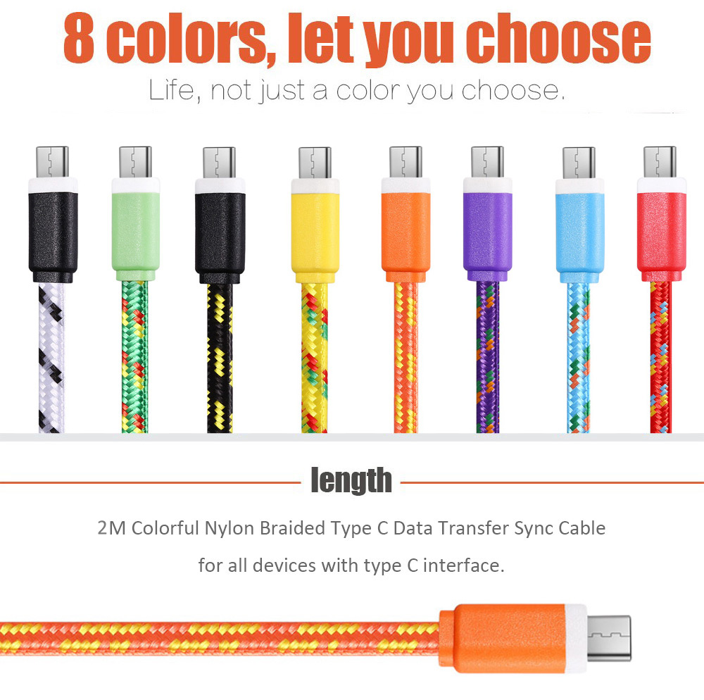 2M Type C to Type C Nylon Braided Type-C Transfer Data Sync Line Charging Cable