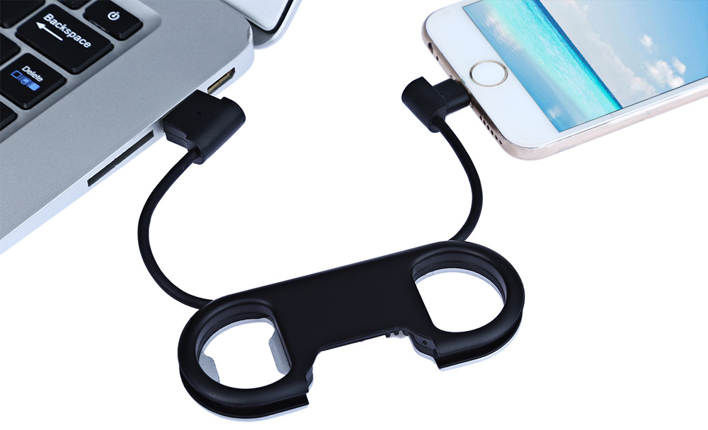 Bottle Opener Key Ring Data Line Charge Sync Cable 8 Pin USB 2.0 for iPhone 5S / 6 / 6S