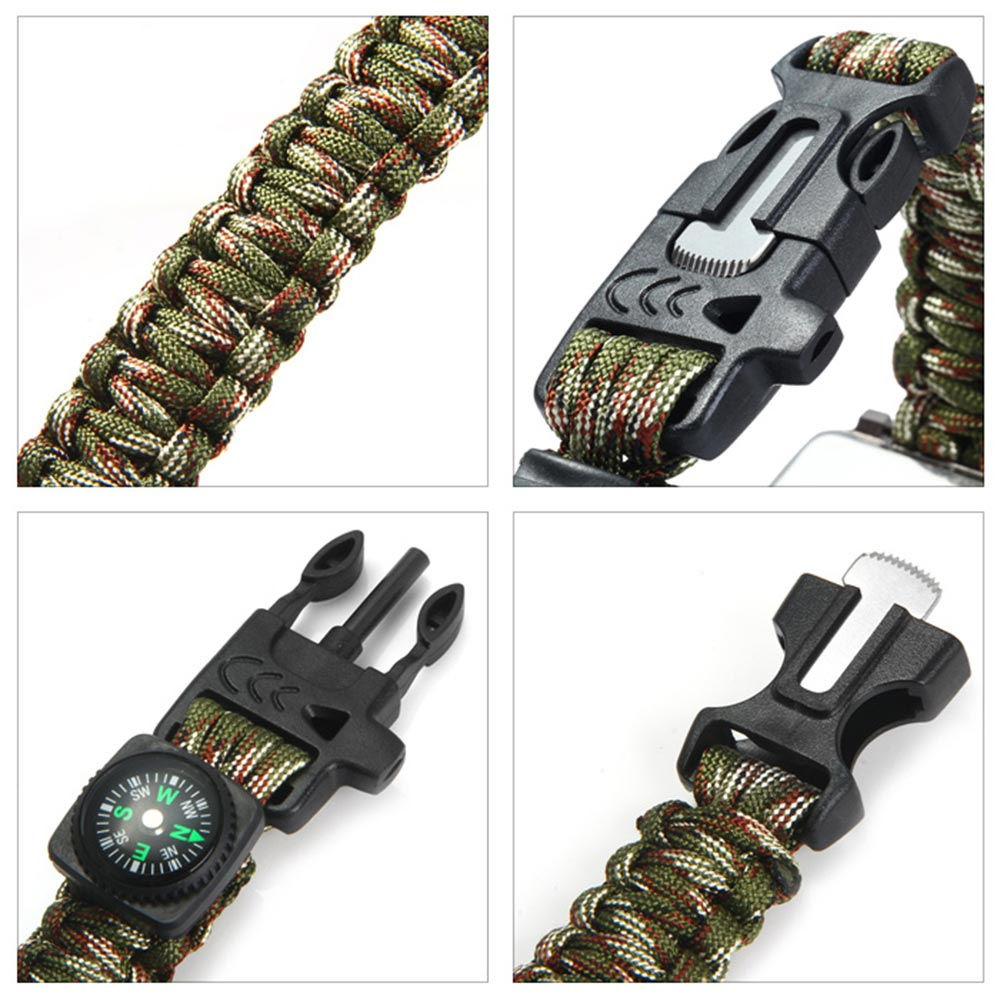 Inlife Multifuctional Survival Paracord Bracelet Watch with Compass Flint Fire Starter Scraper Whistle Gear