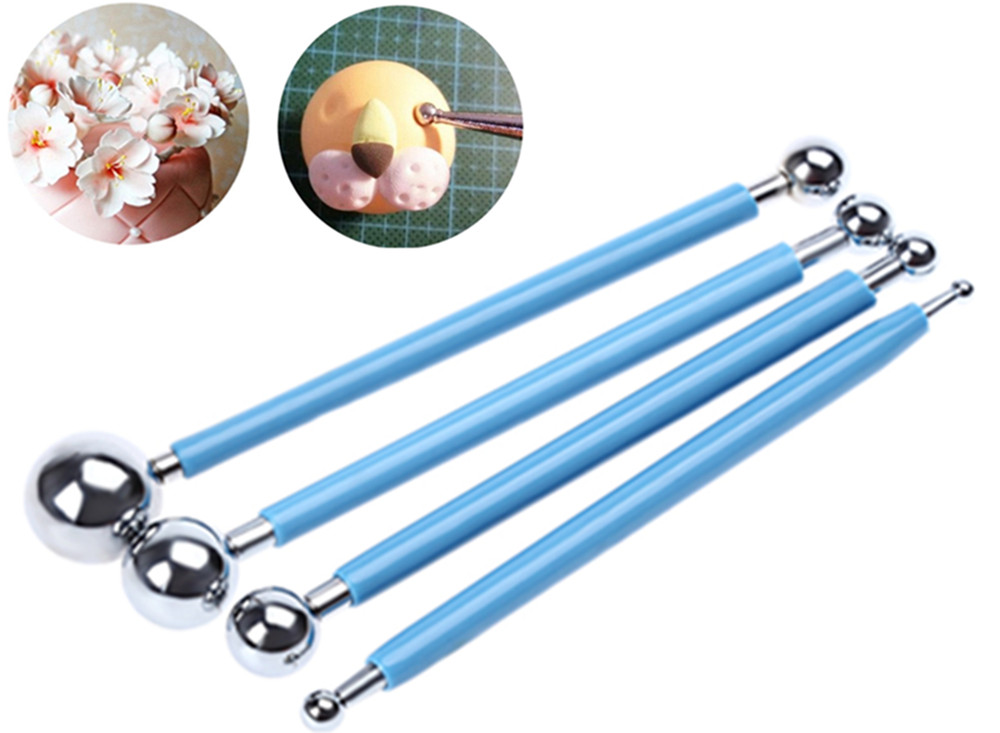 4 in 1 Stainless Steel Molding Ball Sticks Sugarcraft Making Tool Fondant Cake Decorating Kit for Kitchen Dessert Decoration