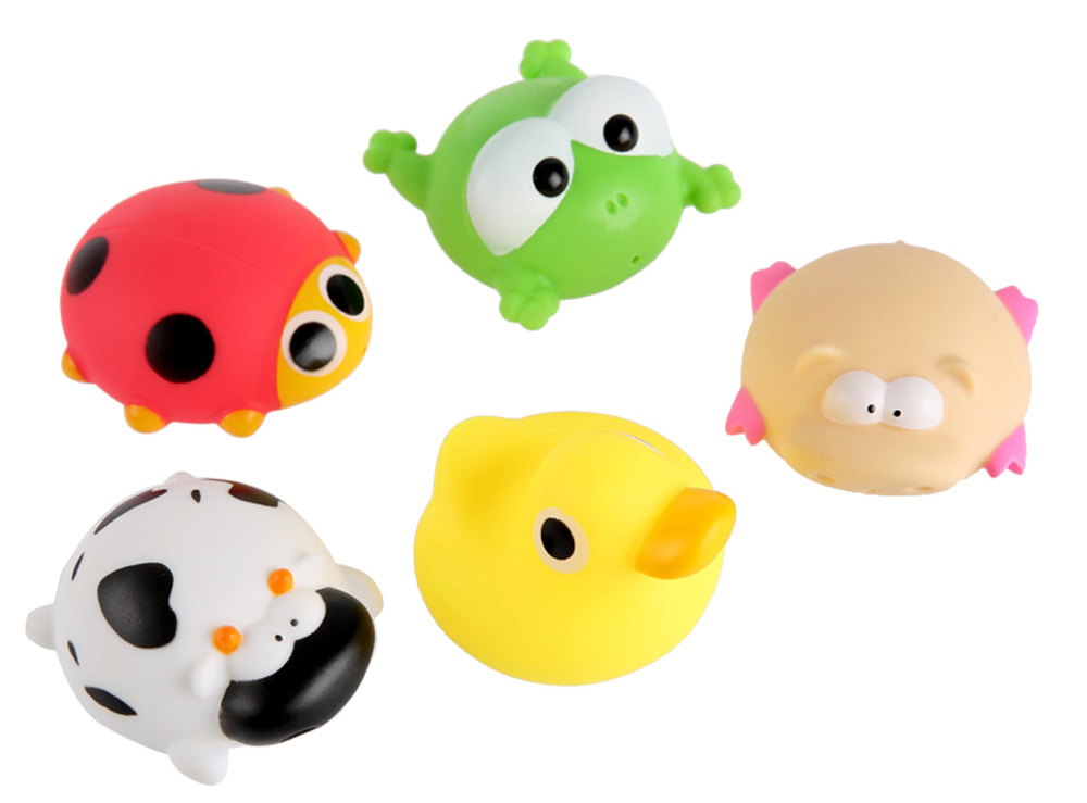 5Pcs Novel Water Spray Float Squeaky Squeeze Sound Animal Baby Bath Toy
