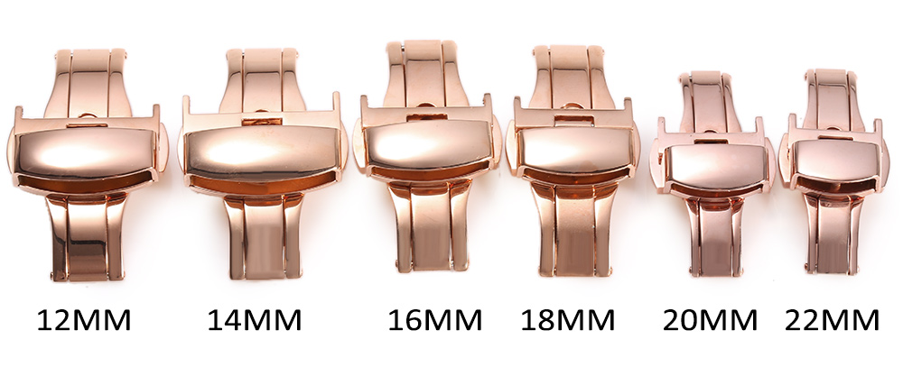 12mm Stainless Steel Butterfly Buckle Double Push Automatic Strap Clasp Polished for Watch Band