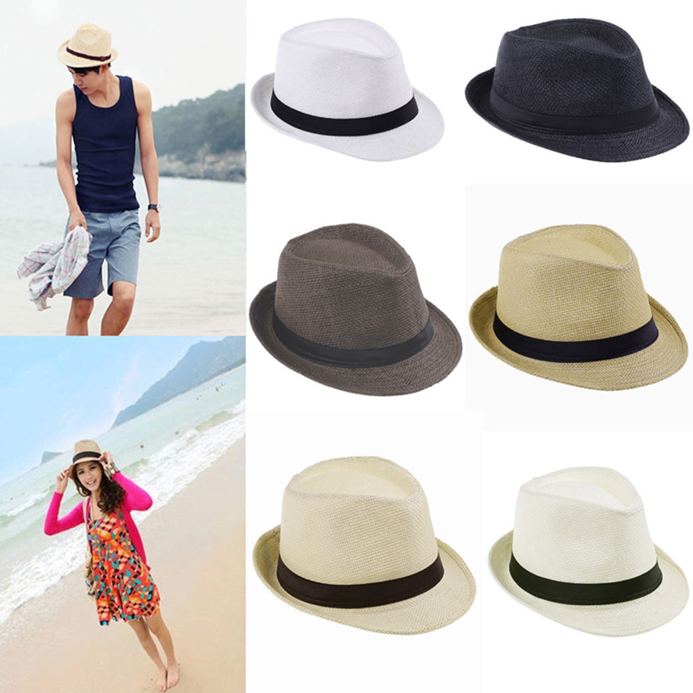 Vintage Pure Color Summer Fedora Cap Beach Sunhat for Unisex