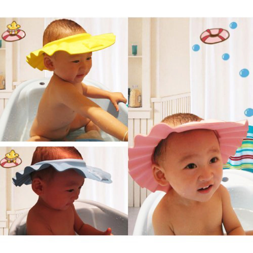 Cute Baby Shower Cap Kids Toddlers Safe Waterproof Shampoo Shower Bathing Protection