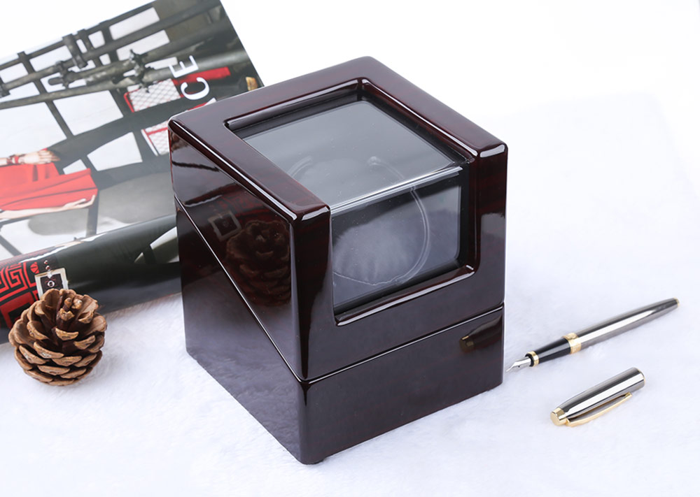 Automatic Wooden Watch Winder Display Box Deluxe Flipping Transparent Cover Jewelry Storage Case