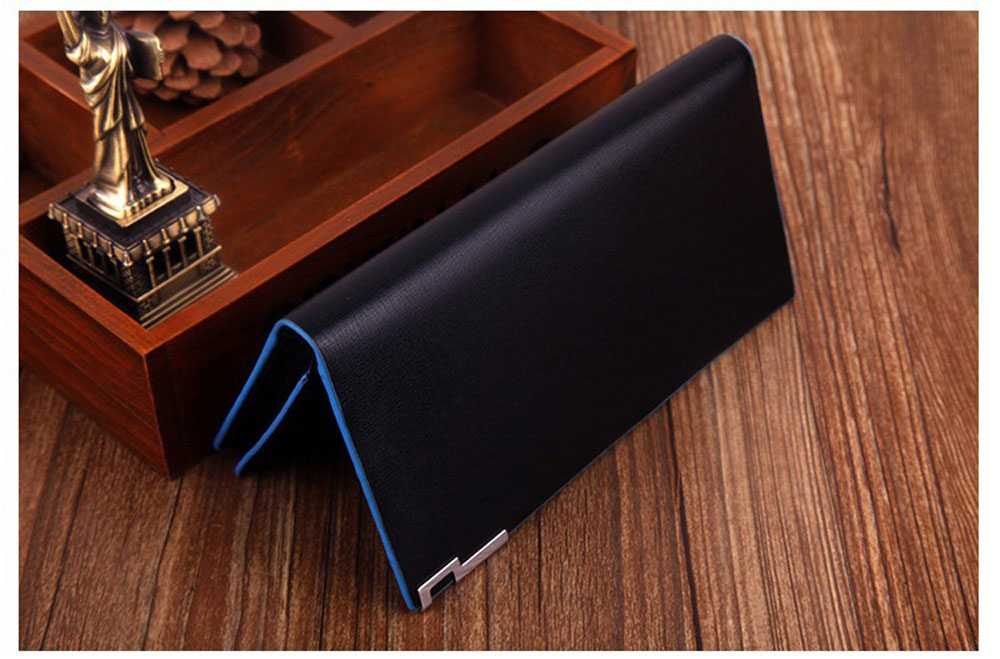 Men Contrast Color Thin Vertical Two Fold Soft Long Open Wallet