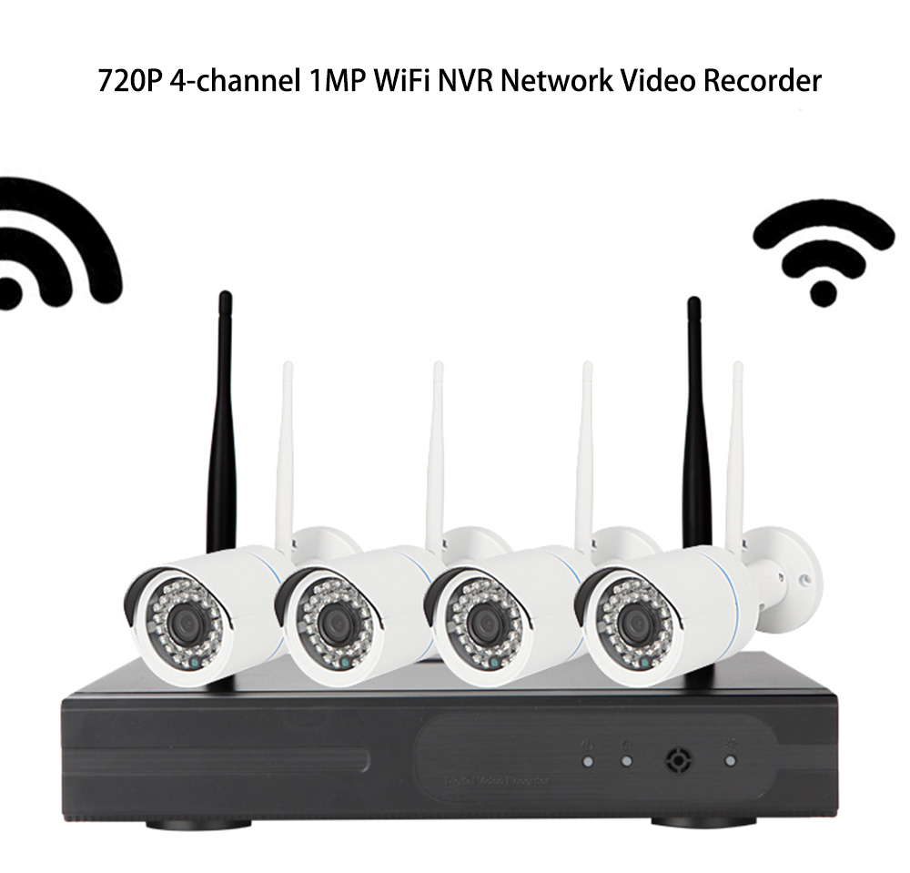 720p 4-channel 1MP WiFi NVR Network Video Recorder