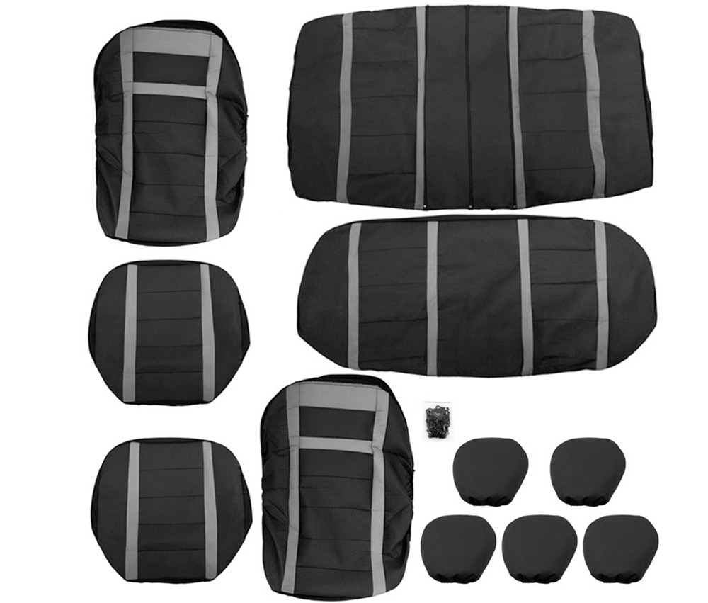 T21621 / BK + BK 11pcs Universal PU Leather Car Seat Cover Set Four Seasons Auto Cushion Interior Accessories