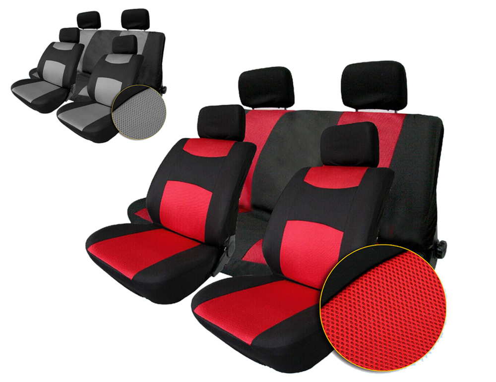 T22507RD 10pcs Universal Sandwich Fabrics Car Seat Cover Set Four Seasons Auto Cushion Interior Accessories