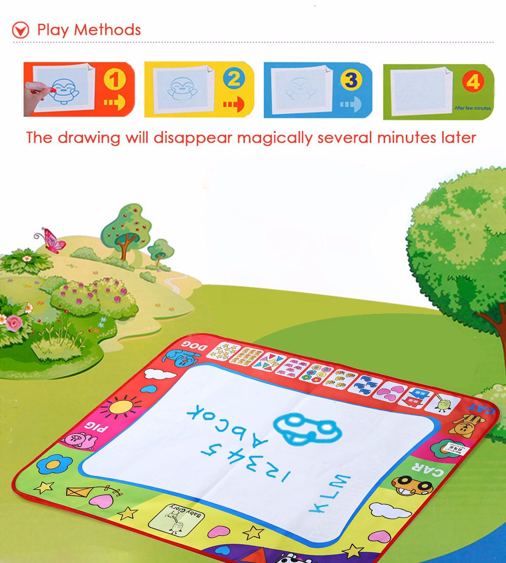Children Doodle Drawing Toys 1 Painting Mat + 2 Water Drawing Pen