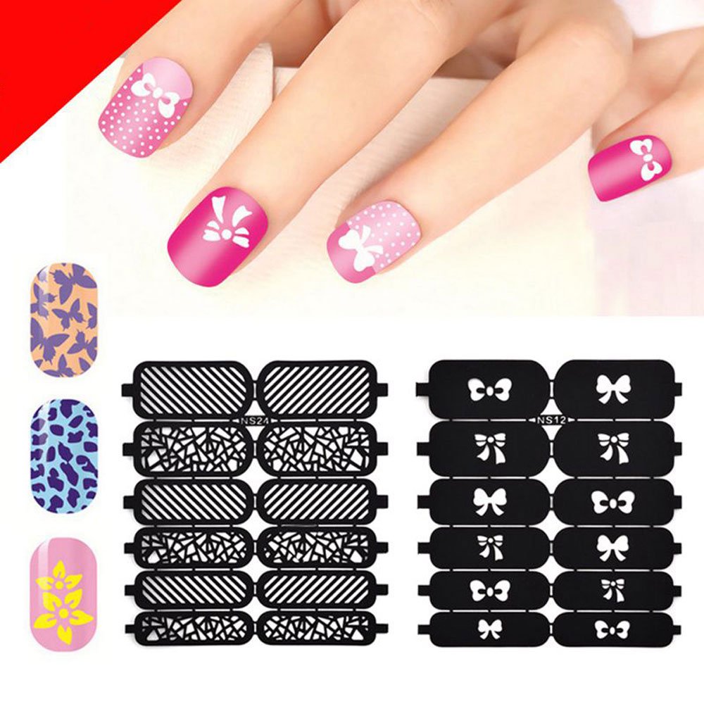 DIY Template Stickers for Nails Charms Flower Heart Bow Stamping Nail Art Manicure Guide