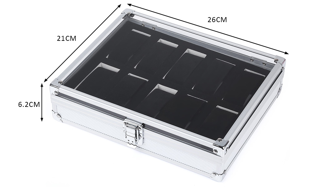 10 Grids Stainless Steel Watch Case Glass Cover Box Organizer
