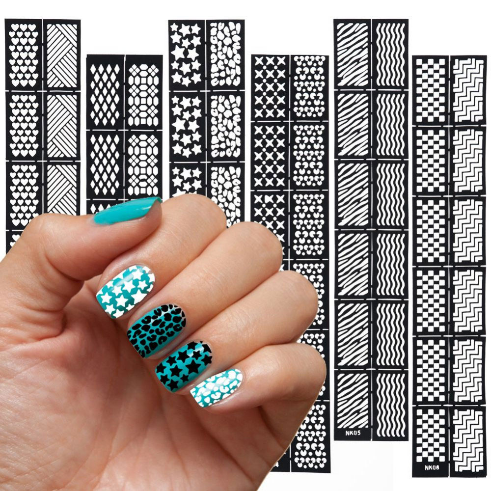 6 pcs Reusable Stamping Tool DIY Nail Art Hollow Template Stickers Stamp Stencil