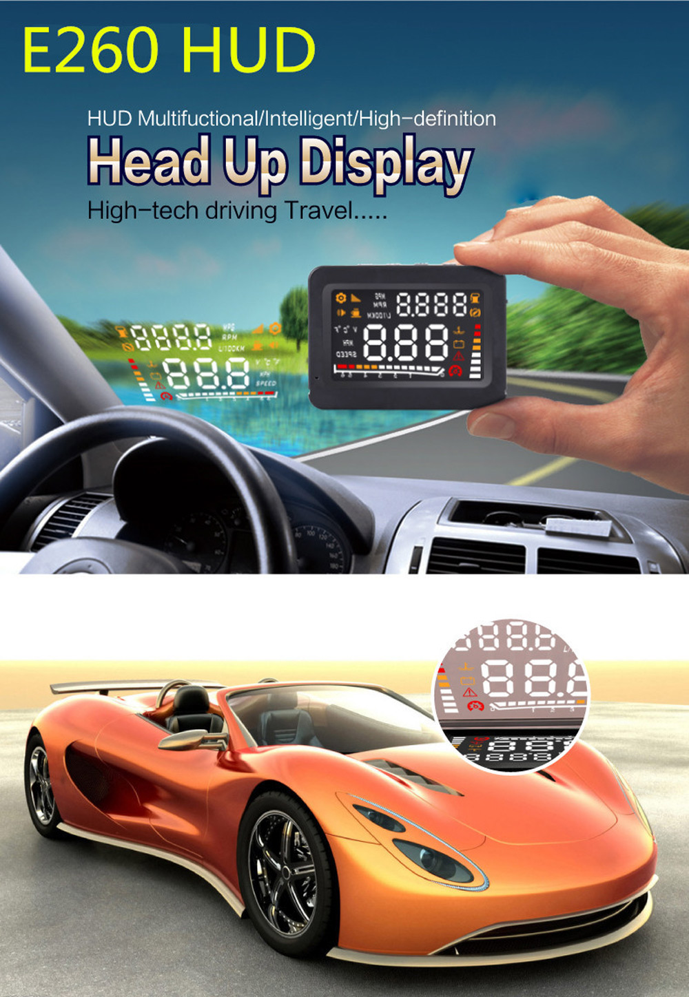 E260 4 Inch Car HUD Head Up Display OBD II Interface with 2D Vision Reflection