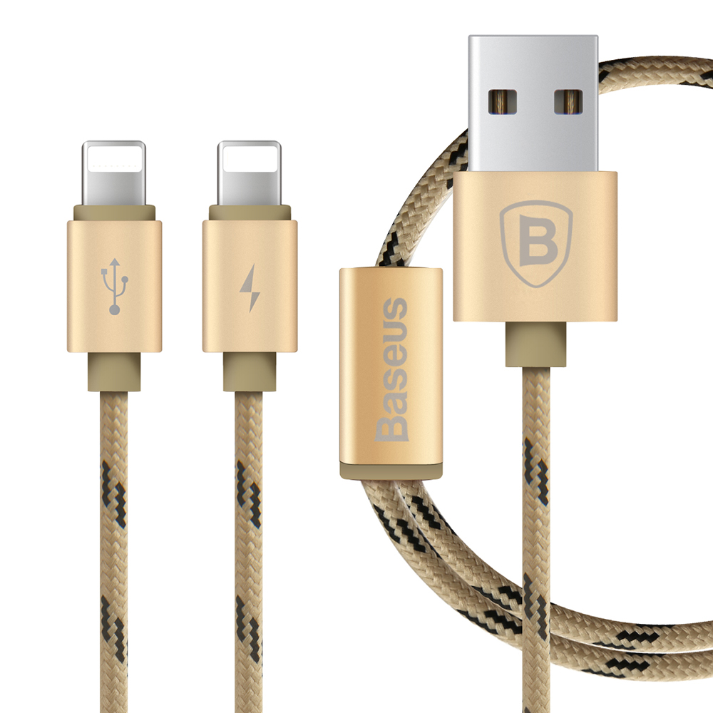 Baseus Portman Series 2 in 1 Charge Cable 1.2M Data Transfer Quick Charging Nylon Braided for iOS 9