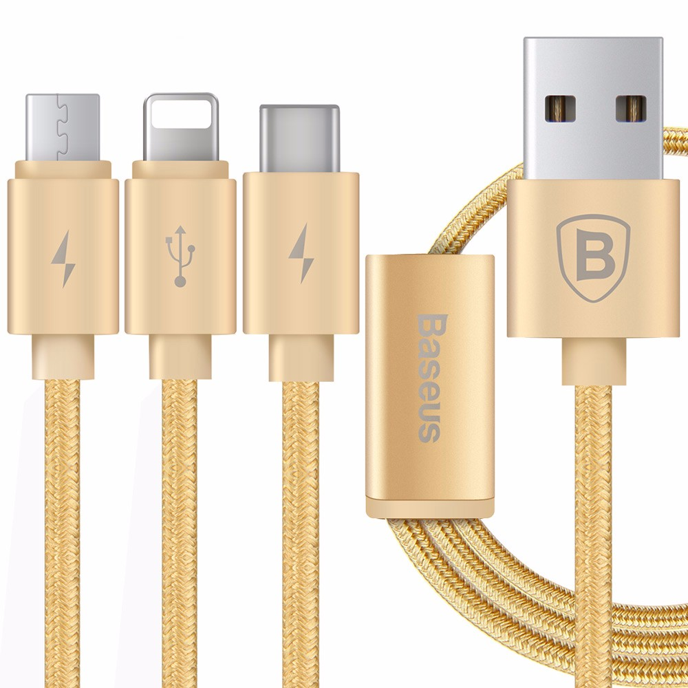 Baseus Portman Series 3 in 1 Charge Cable 1.2M Type-C Data Transfer Quick Charging Nylon Braided Line
