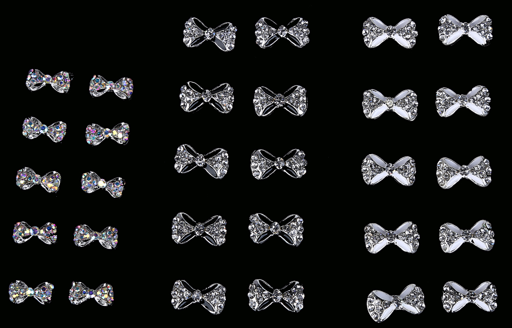 10pcs Phototherapy Accessories DIY Bow Rhinestone Decoration Nail Sticker
