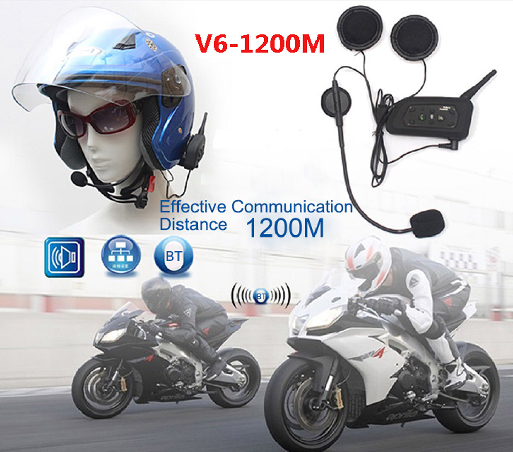 2pcs Motorcycle Bluetooth V3.0 Helmet Headset Interphone Wireless 6 Riders Handsfree Headphone for Riding Snow Sport