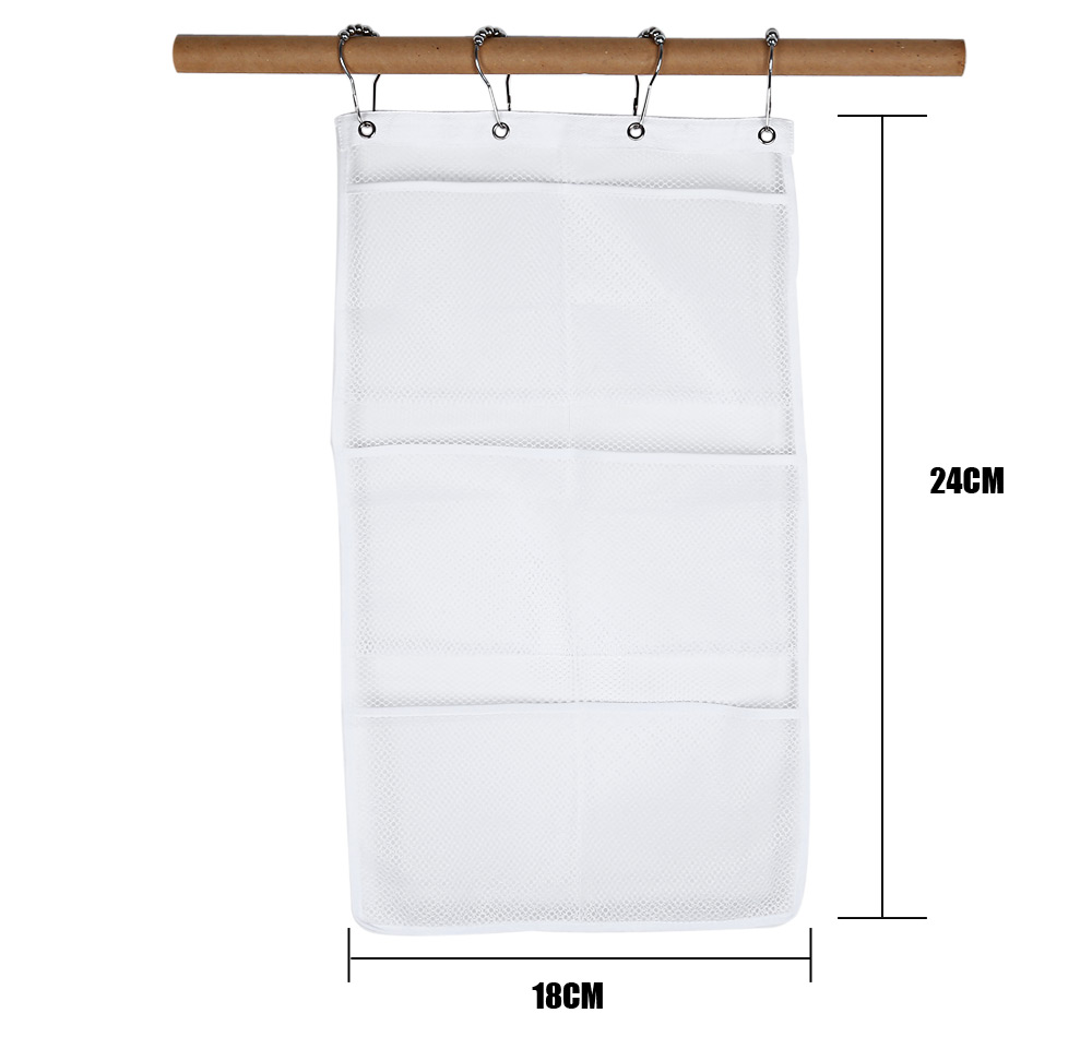 Quick Dry Mesh Bathroom Shower Organizer Hanging 6 Pockets Hanger Storage Caddy with 4 Hooks