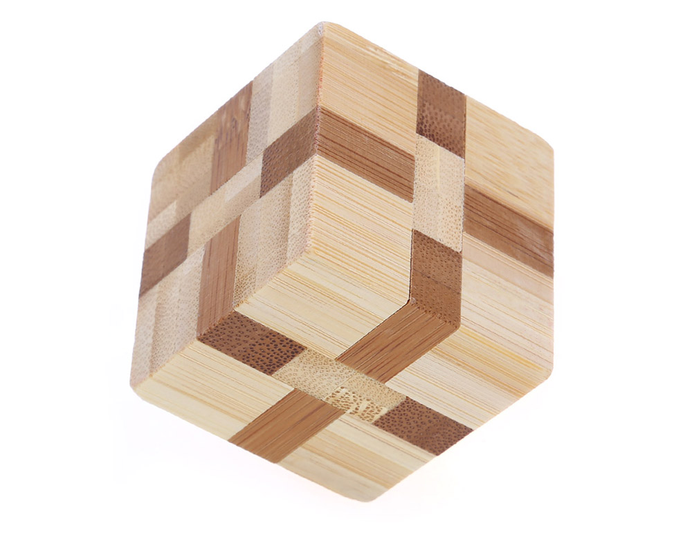 3D Interlocking Wooden Cube Burr Puzzle IQ Brain Teaser Intelligence Game Toy
