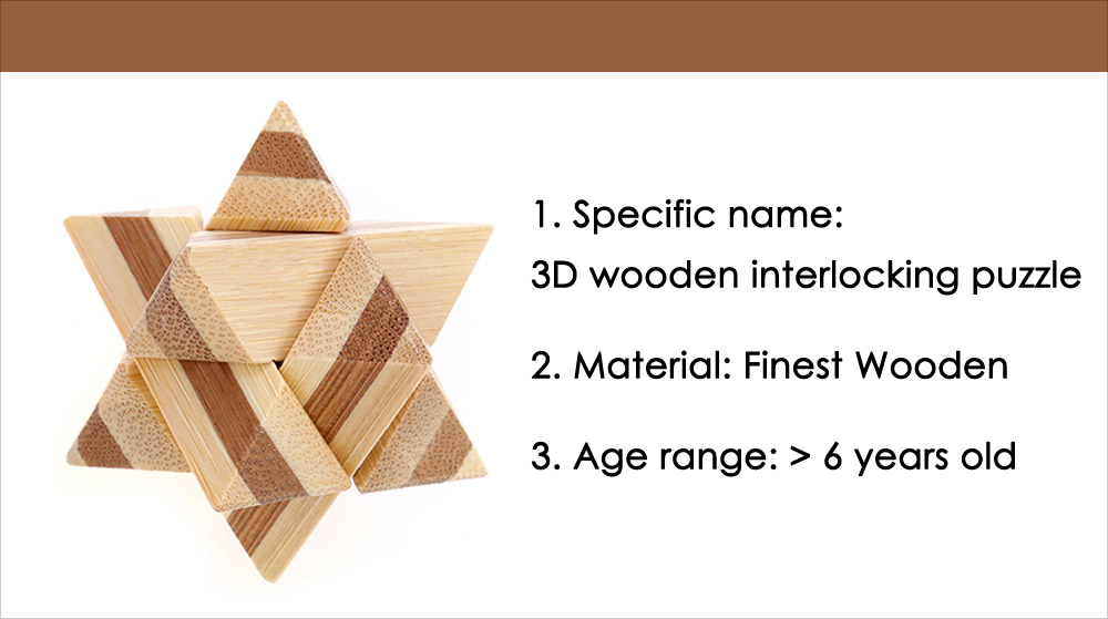 3D Interlocking Wooden Star Burr Puzzle IQ Brain Teaser Intelligence Game Toy