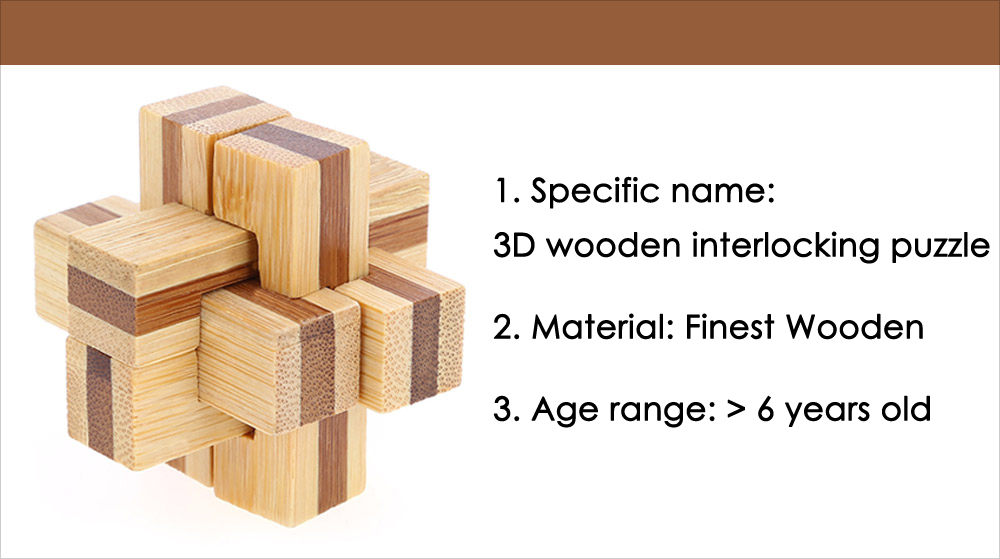 3D Wooden 6-pieces Cross Burr Puzzle IQ Brain Teaser Intelligence Game Toy