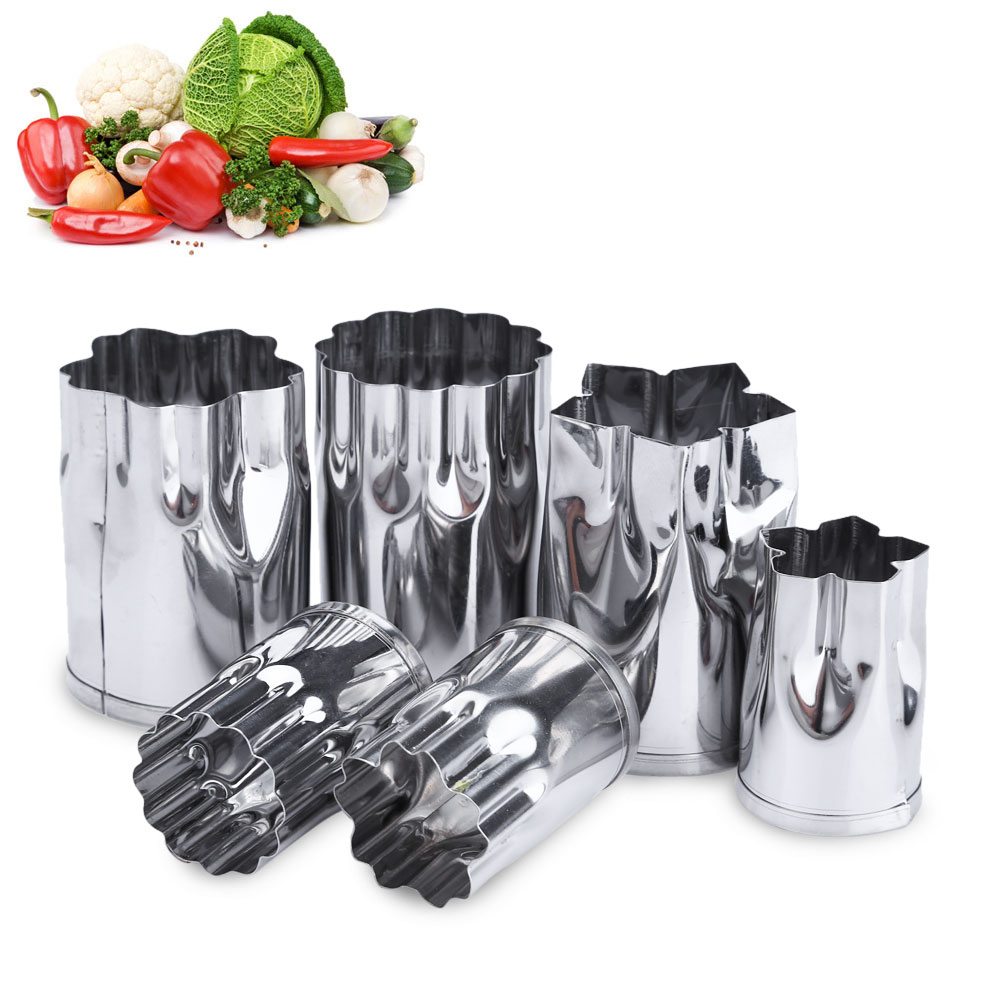 8pcs Stainless Steel Flower Shape Cake Vegetable Fruit Cutter Mold Tool Kitchen Accessories