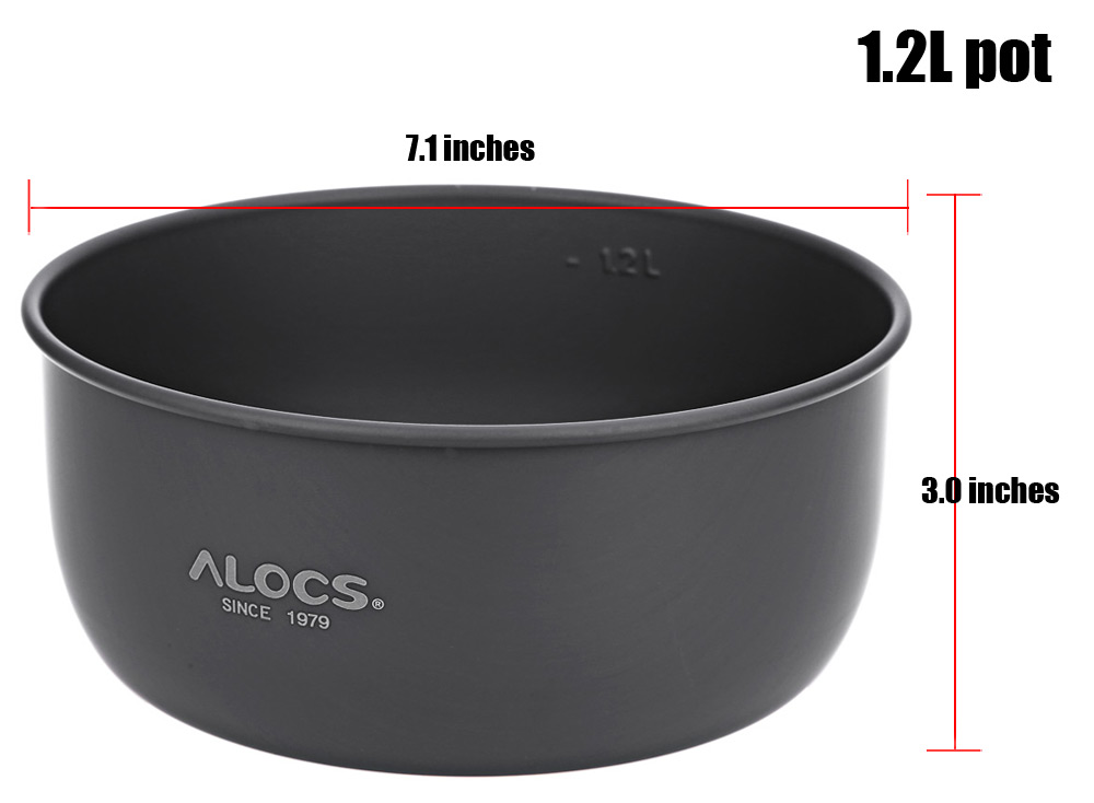 ALOCS CW - C05 Portable 2 - 4 Person 10pcs Kitchenware Set Alcohol Stove for Outdoor Hiking Camping Picnic