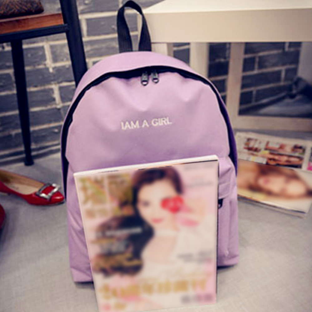 Women Embroidery Letter Embellishment Solid Color Vertical Zipper Backpack
