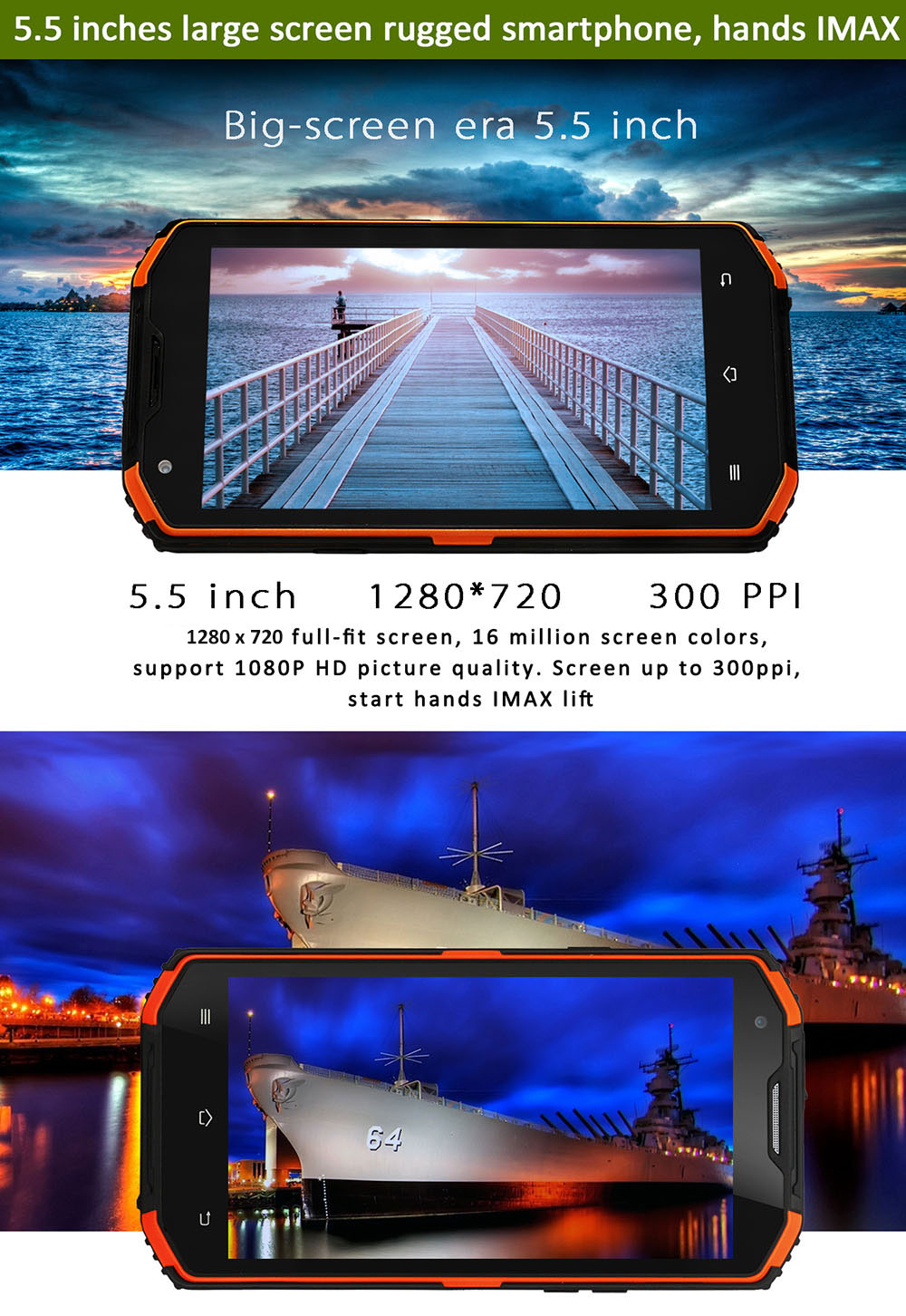 NO.1 X3 Android 5.1 5.5 inch 4G Phablet MTK6735 Quad Core 2GB RAM 16GB ROM IP68 Waterproof Bluetooth 4.0 Dual Cameras GPS WiFi Function
