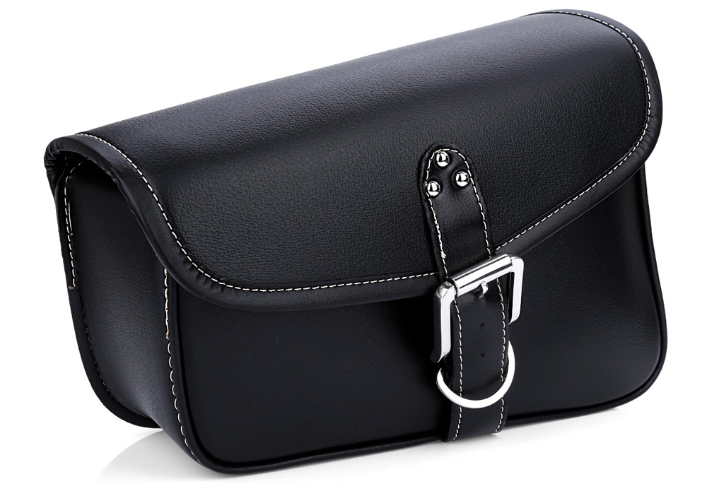 Motorcycle PU Leather Saddlebag Tool Bag Panniers Harley Cruiser Storage Pouch