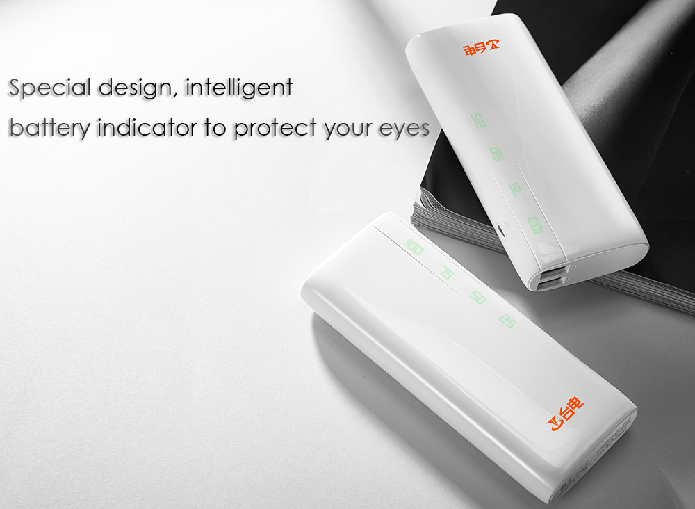 Origianl Teclast T100CY - W 10000mAh Dual USB Ports Mobile Power Bank Charger Intelligent Eye Protection Battery Indicator