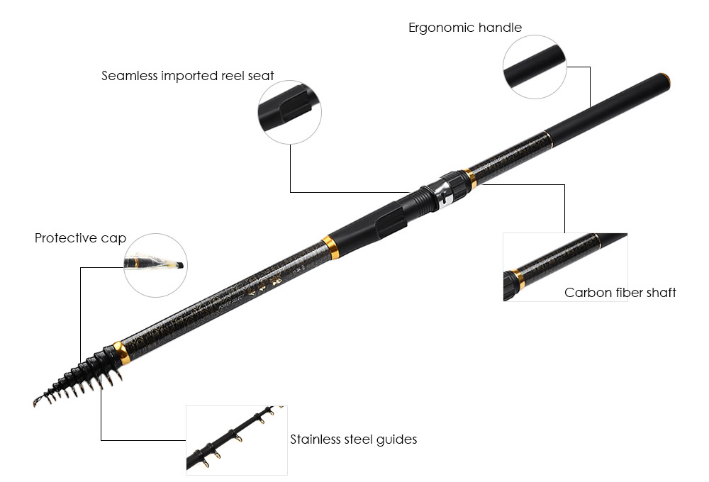142 Inches Telescoping Carbon Fishing Rod Fish Pole Tackle