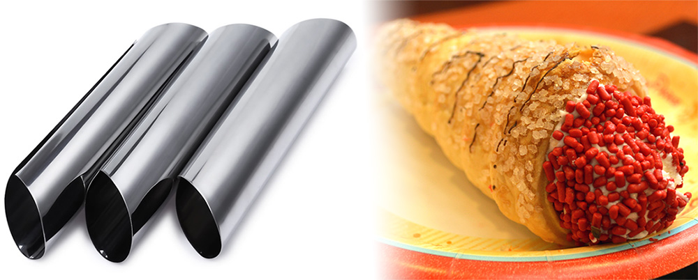 3pcs Stainless Steel Spiral Tube Anode Baked Croissants DIY Essential Horn Baking Cake Mold