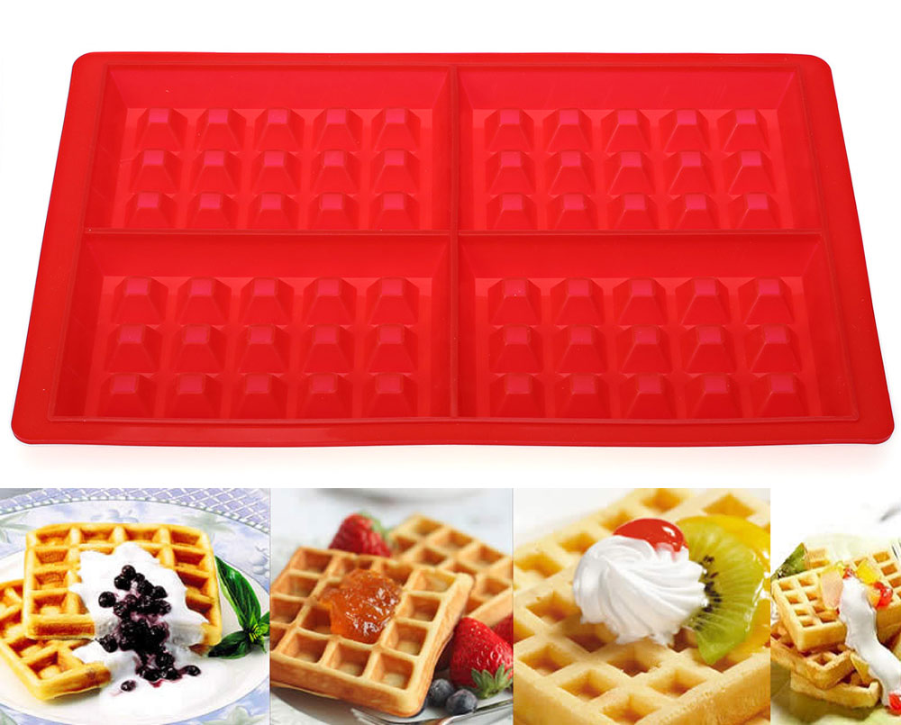 4 Cavities Waffles Cake Chocolate Pan Baking Silicone Mold Cooking Tools