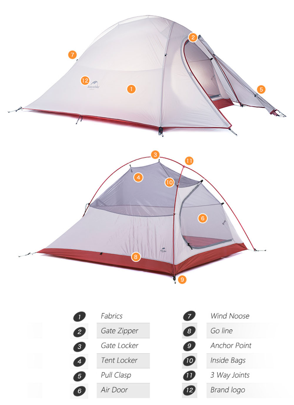 2 Person Outdoor Lightweight Camping Tent Kit Double Layer Soft Silicone Anti-pest with Carry Bag for Travel Hunting Hiking