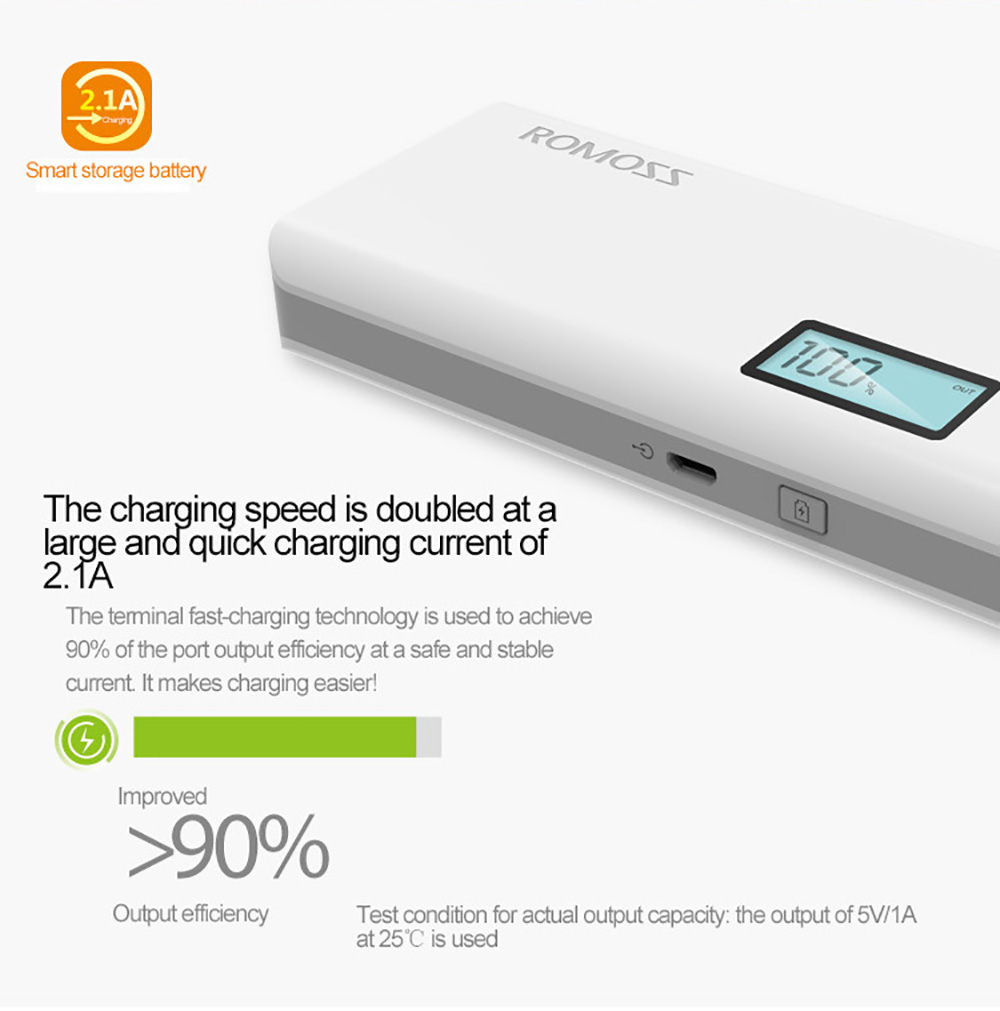 ROMOSS Sense 4 Plus 10400mAh Portable Charger External Battery Pack Power Bank Fast Charging with LCD for iPhone5 5S 6 6S 6 Plus Samsung Note 5 S6 Edge Plus Android Phones Tablet PCs
