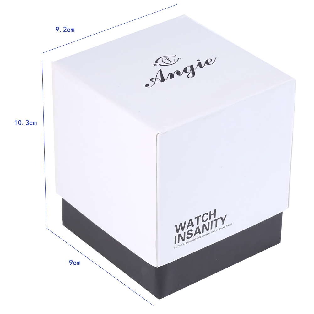 ANGIE Square Shape Cardboard Paper Watch Box with Pillow